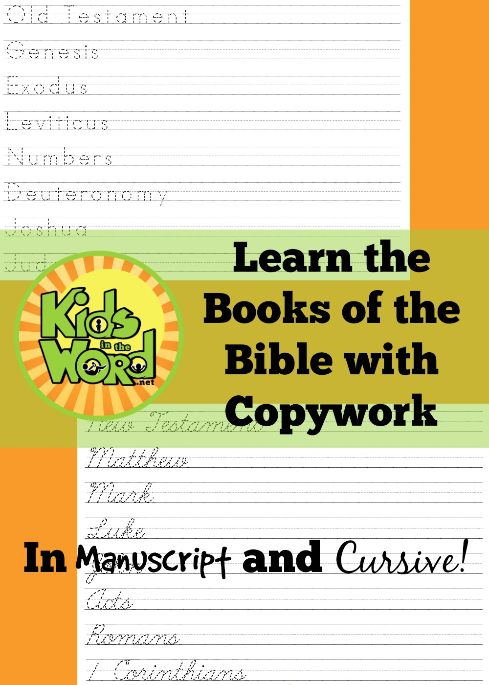 Help your kids learn the books of the Bible with tracing and copywork. Writing helps memory! At KidsintheWord.net