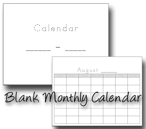 Blank Monthly Tracing Calendar