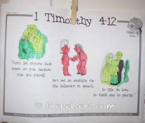 1 Timothy 4:12 Coloring Sheet