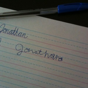 Jonathan's Name in Cursive