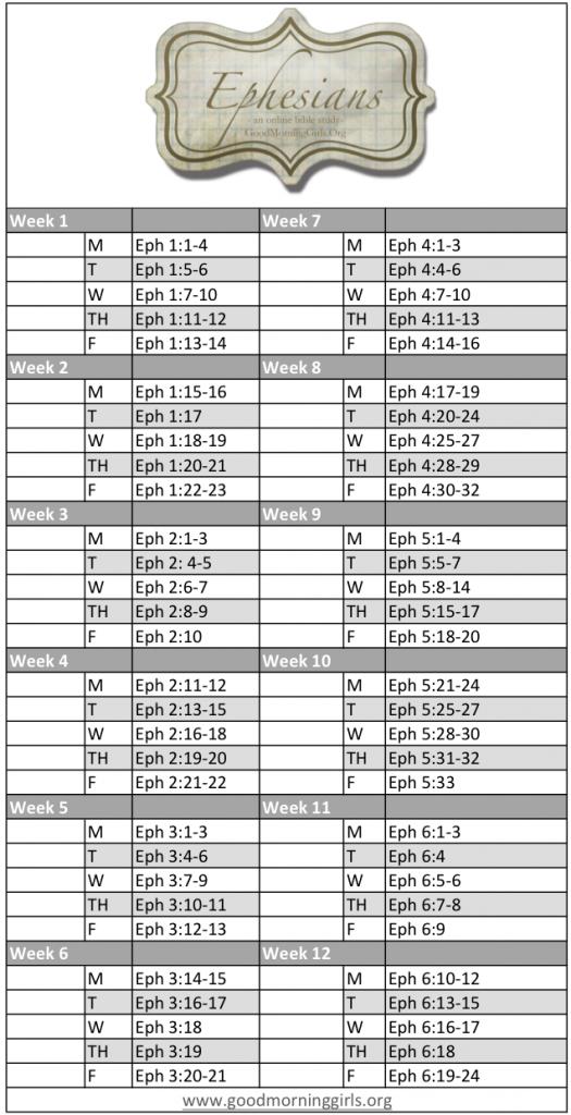 Ephesians Schedule