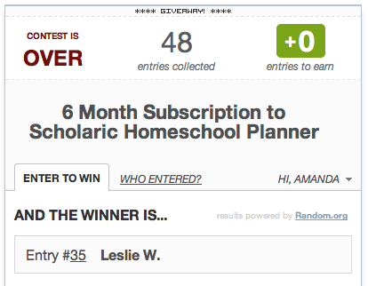 Giveaway Winner: 6 Months of Scholaric