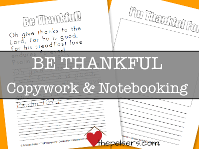 Be Thankful Copywork and Notebooking