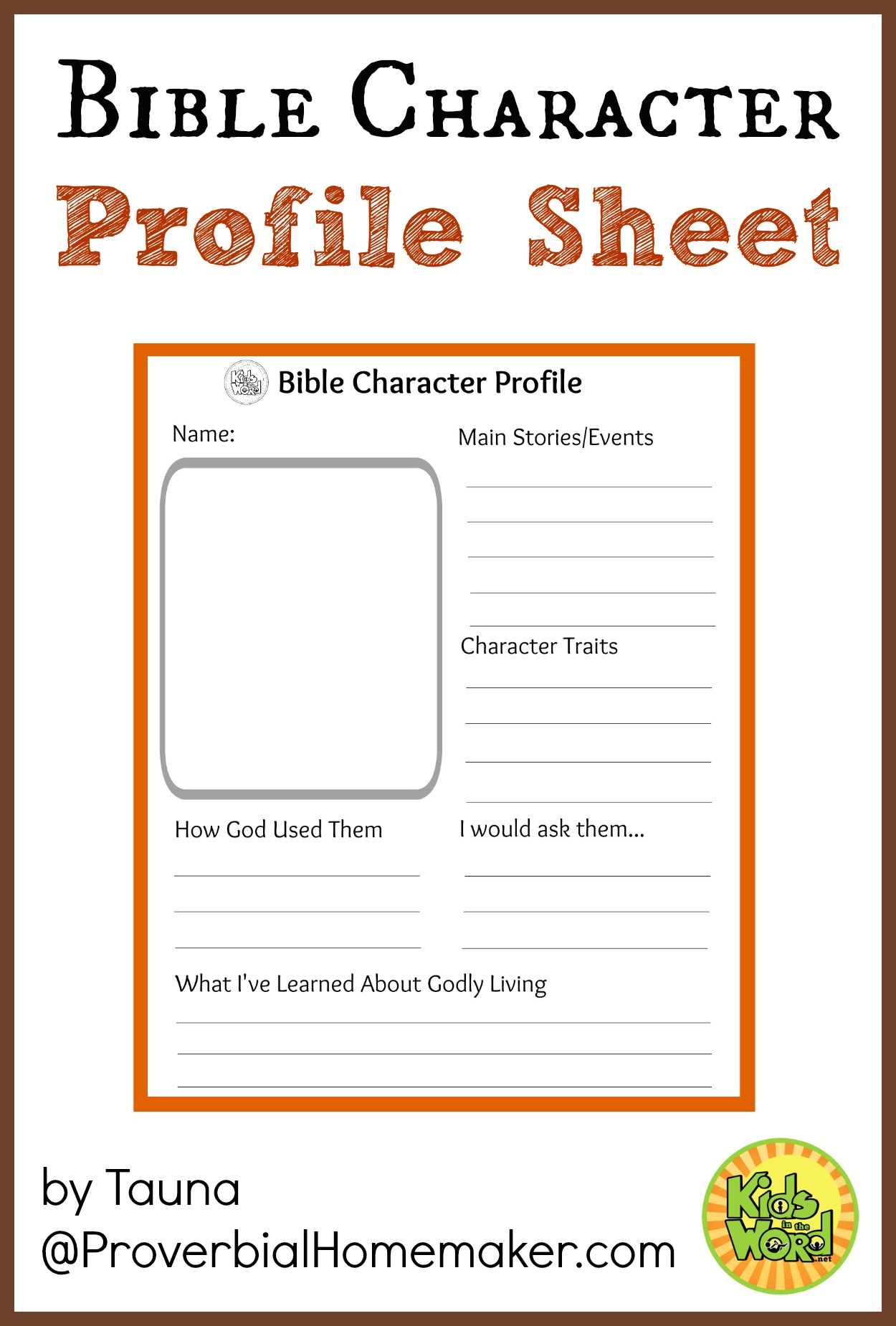 Worksheets Character Profile Worksheet bible character profile sheet study characters with your kids using this sheet