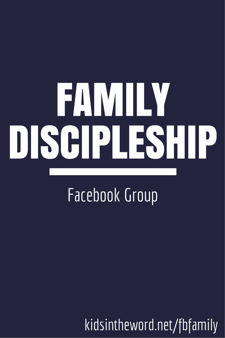 Join us on Facebook to talk about family discipleship. Questions., advice, and support for parents.