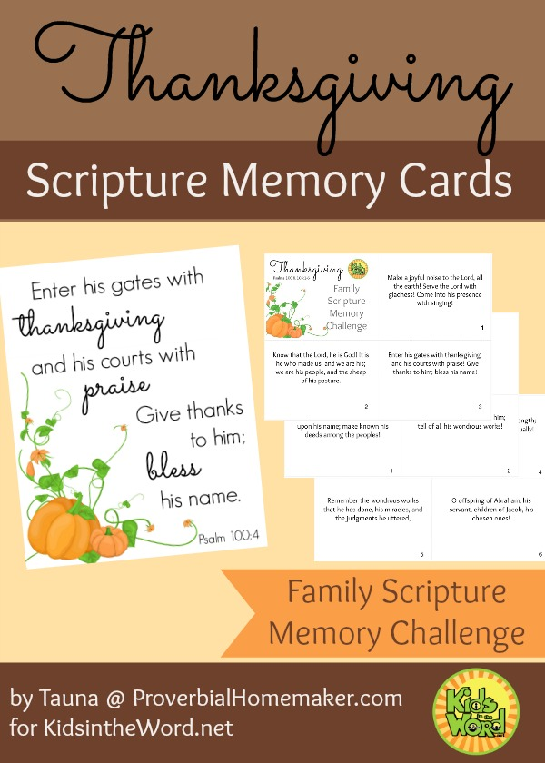 Thanksgiving Scripture Memory Cards - Psalm 100 and 105 for the Family Scripture Memory Challenge